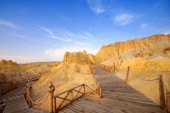Wood road at Xinjiang desert,Western China Stock Image
