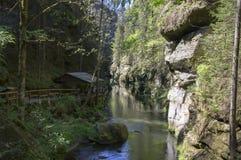 Wood and rock landscape in Bohemian Switzerland, Kammintz George rocky ravine, Saxon Switzerland National Park. Wood and rock landscape in Bohemian Switzerland royalty free stock image