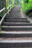 Wood and Rock Stairway in a Forest Park Royalty Free Stock Photo