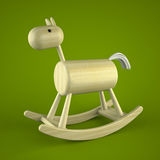 Wood rocking horse toy on green background. 3D Stock Images