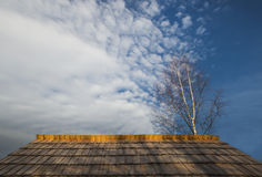 Wood roof and blue sky. Blue sky and wood roof Royalty Free Stock Photo