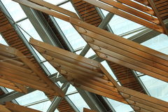 Wood Roof. Ceiling covered with Stock Image