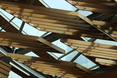Wood Roof. Ceiling covered with Stock Images