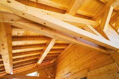 Wood roof ceiling. Structure detailed stock photo