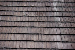 Wood roof. Old roof with wood shingles Stock Photo