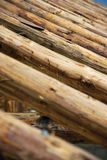 Wood Roof Structure. Wood logs roof construction detail Royalty Free Stock Images