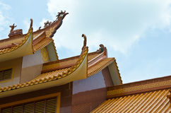 Wood roof structures. Chinese roof structure sky background Royalty Free Stock Images