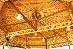 Wood roof in Thailand. Stock Photo