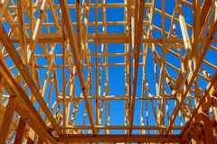 Wood Roof Trusses viewed from inside of new home Royalty Free Stock Image