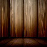 Wood Room. Interior of room interior with wood floors and wood panel walls all in rich brown tones Stock Image