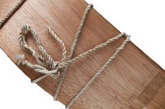 Wood with rope knot Stock Photo