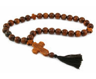 Wood rosary isolated Stock Image