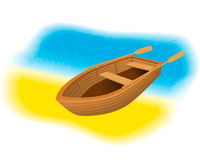 Wood rowboat with oars on the beach. Sailing boat with paddles standing on a sand shore of sea. vector illustration