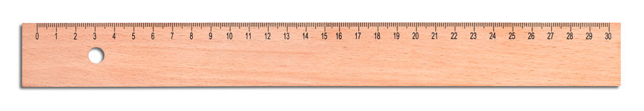 Wood ruler isolated on white stock image