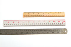 A wood ruler,Steel, plastic ruler Stock Photography