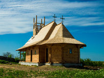 Wood Rural Church. The process of building Stock Photo