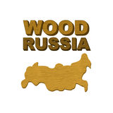 Wood Russia. Map of country in form of  wooden cutting board for Stock Photos