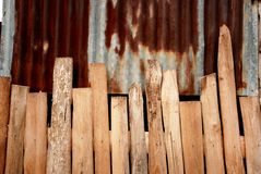 Wood and rust zinc pattern. In vernacular architecture of South-East Asia royalty free stock photography