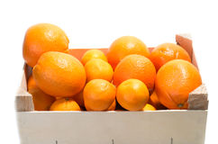 Wood rustic crate full of Clementine Mandarin Oranges Royalty Free Stock Images