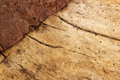 Wood with rusty metal Stock Photos