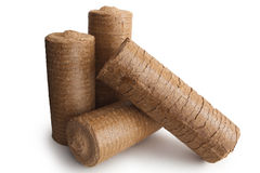 wood sågspånenergibriketter Arkivfoto