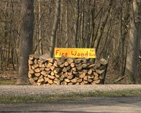 Wood For Sale. Firewood for sale stock image
