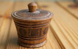 Wood salt-cellar Royalty Free Stock Photo