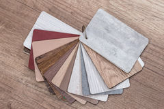 Wood sample color. On the wooden table royalty free stock photography