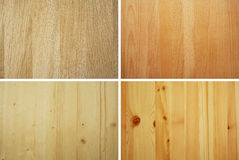 Wood samples. Oak, beech, spruce and pine wood samples Royalty Free Stock Image
