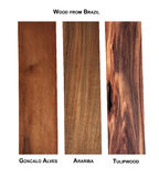 Wood samples from Brazil. Goncalo Alves, Arariba and Tulipwood samples from Brazil Royalty Free Stock Photography