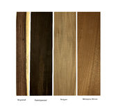 Wood samples of Kingwood,Partridgewood,Redgum and Mahogany Royalty Free Stock Photo