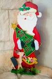 Wood Santa Christmas Statue Arkivbild