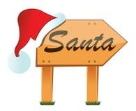Wood santa sign Royalty Free Stock Image