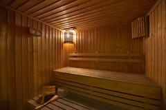 Wood sauna room Royalty Free Stock Photos