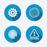 Wood and saw circular wheel icons. Attention Royalty Free Stock Photography