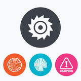 Wood and saw circular wheel icons. Attention. Royalty Free Stock Images