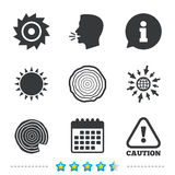 Wood and saw circular wheel icons. Attention. Wood and saw circular wheel icons. Attention caution symbol. Sawmill or woodworking factory signs. Information, go royalty free illustration