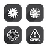 Wood and saw circular wheel icons. Attention. Royalty Free Stock Photo