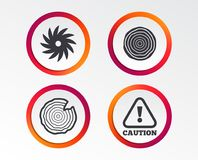 Wood and saw circular wheel icons. Attention. Stock Photography