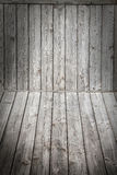 Wood scene background and floor. Box wooden gray boards vignette Stock Photos