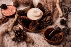 Wood scents for winter time aromatherapy. Pine cones, candles, essential oil bottles, top view. Spa relax winter concept, copy. Space stock photo