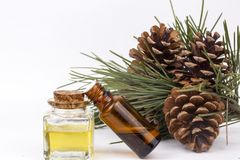 Wood scents for winter time aromatherapy. Pine cones and fresh green fir tree boughs, essential oil bottles, top view.  stock photography
