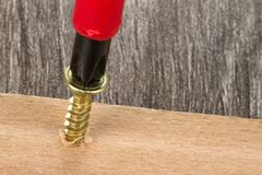 Wood screwing Stock Image