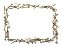 Wood screws frame Stock Images