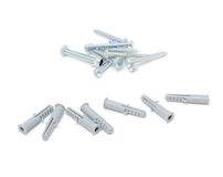Wood Screws And Wall Plugs. Isolated on a white background Royalty Free Stock Photography