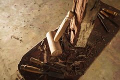 Wood Sculptor Chisel Hammer And Work Tools In Atelier Royalty Free Stock Photography