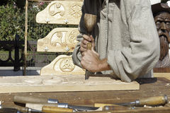 Wood sculptor Stock Image