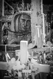 Wood sculpture. BW photo of a face bas-relief in wood, at the hill of crosses, Lithuania Royalty Free Stock Photo