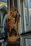 Wood sculpture of Saint Christopher carrying young jesus Royalty Free Stock Photos