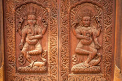 Wood Sculpture. At The Door in Bhaktapur Royalty Free Stock Photography